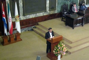 Ahmadinejad giving lecture at Havana University